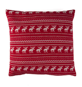 Christmas Stag Fair Isle Red Cushion - cushions