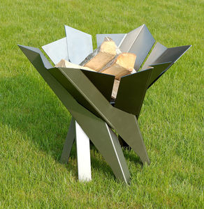 Phoenix Flower Steel Fire Pit - 25th anniversary: silver