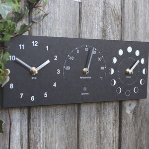 Eco Recycled Moon Phase, Outdoor Clock And Thermometer