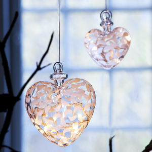 Drops Light Up Glass Hanging Heart Large
