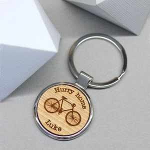 Personalised Wooden Bicycle Key Ring - gifts for cyclists