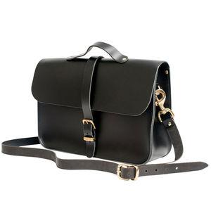 Black Leather Retro Briefcase Satchel