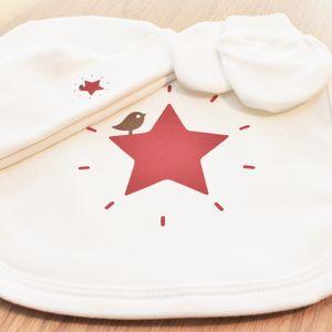 Organic Bib, Beanie And Mitten Red Star Set - baby care