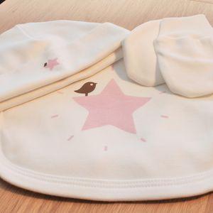 Organic Bib, Beanie And Mitten Pink Star Set - baby care