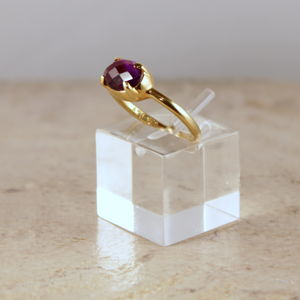 Amethyst Ring 18ct Gold Plated Silver