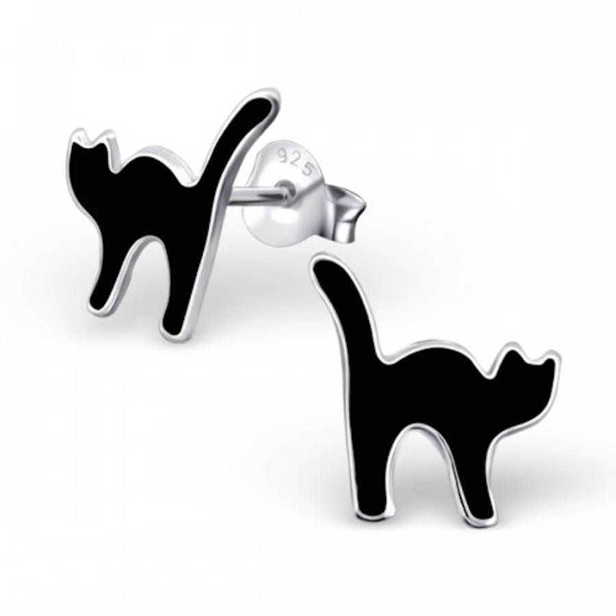 Sterling Silver Black Cat Earrings
