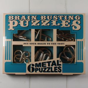 Brain Busting Puzzles Set Of Metal Teasers - board games & puzzles