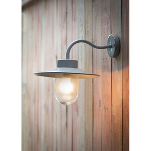 St Ives Galvanised Swan Neck Wall Light In Flint