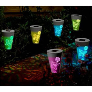 Six Solar Silhouette Butterfly Colour Stake Lights