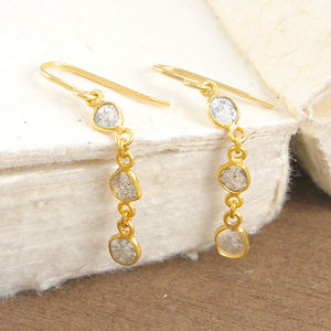 Diamond Birthstone Triple Organic Gold Drop Earrings - diamonds