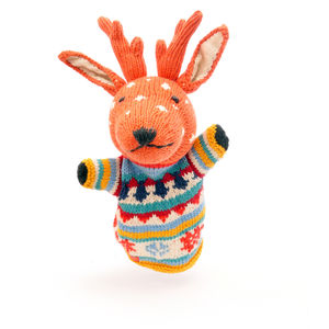 Reindeer Hand Puppet In Organic Cotton - gifts for children