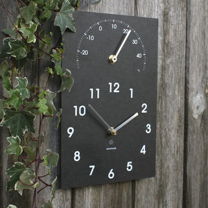 Eco Recycled Wall Clock And Thermometer - clocks