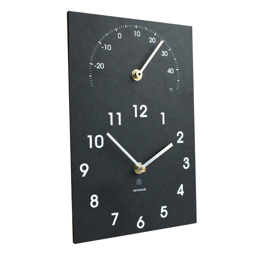Eco Recycled Outdoor Clock And Thermometer eco