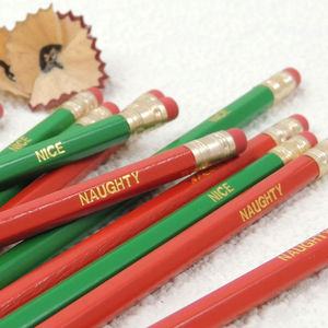 12 'Naughty And Nice' Graphite Pencils