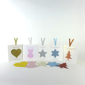 Plantable Christmas Shapes Set Of Five - christmas card packs