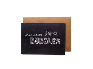 'Break Out The Bubbles' Name In Lights Chalkboard Card