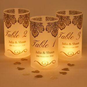 Damask Wedding Table Number Luminaries - table decorations