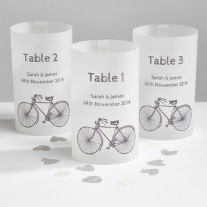 Cyclist Wedding Table Number Luminaries
