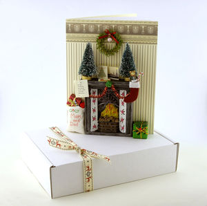 Victorian Fireplace 3D Christmas Card
