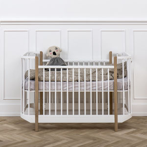 Scandinavian Curved White And Oak Cotbed - dreamland nursery