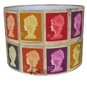 Postage Stamp Lampshade Reds - office & study