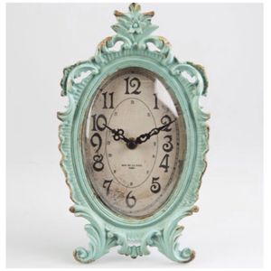 Duck Egg Vintage Pewter Oval Clock - clocks