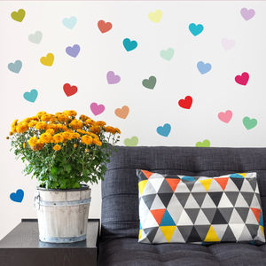 Multicoloured Heart Wall Sticker Set - wall stickers