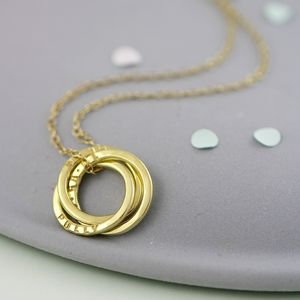 Personalised Yellow Gold Russian Ring Necklace
