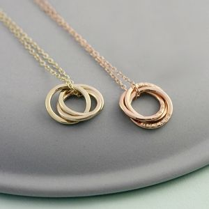 Personalised Yellow Gold Russian Ring Necklace - 50th anniversary: gold