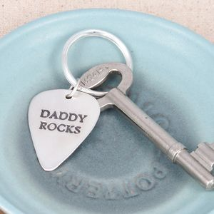 Personalised Fine Silver Plectrum - keyrings