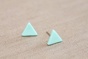 Small Mint Triangle Stud Earrings - earrings