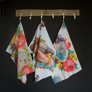 Victorian Tea Towels Set Of Floral Patterned Cloths