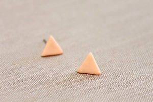 Small Coral Triangle Stud Earrings - earrings