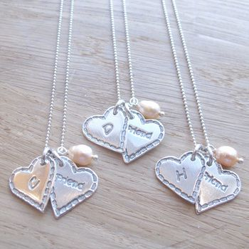 Personalised Shabby Heart Charm Necklace