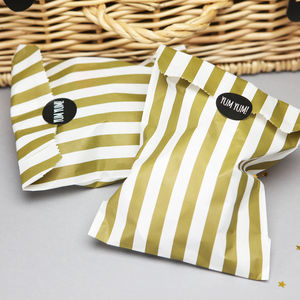Gold Stripy Sweet Bags With Stickers - wedding favours