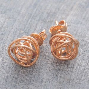 Rose Gold Nest Stud Earrings - women's jewellery