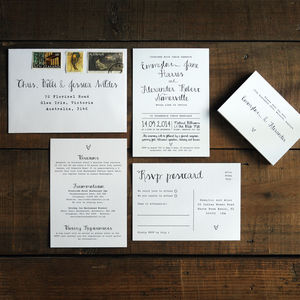 Calligraphy Wedding Invitation Stationery - save the date cards