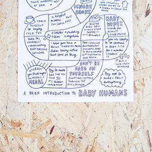 A Brief Introduction To Baby Humans New Baby A5 Card - gifts for new parents