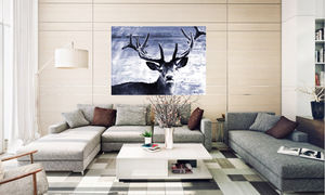 Deer At Dawn, Ready To Hang Canvas Art - home accessories