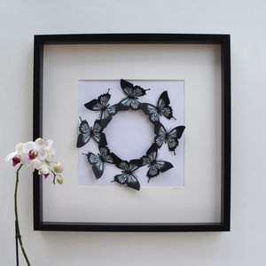 Butterfly Wheel Taxidermy Style Hand Cut Artwork - mixed media & collage