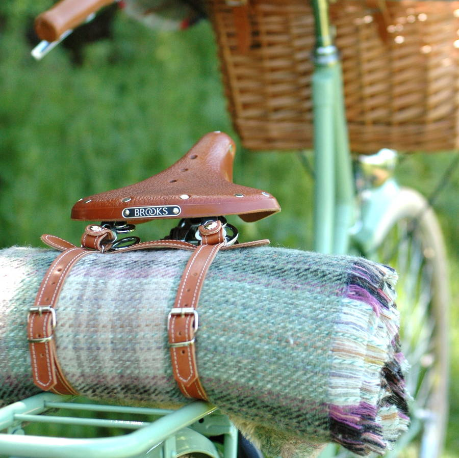 Recycled Wool Picnic Rug And Leather Straps