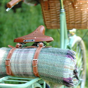 Recycled Wool Picnic Rug And Leather Straps - gifts for cyclists