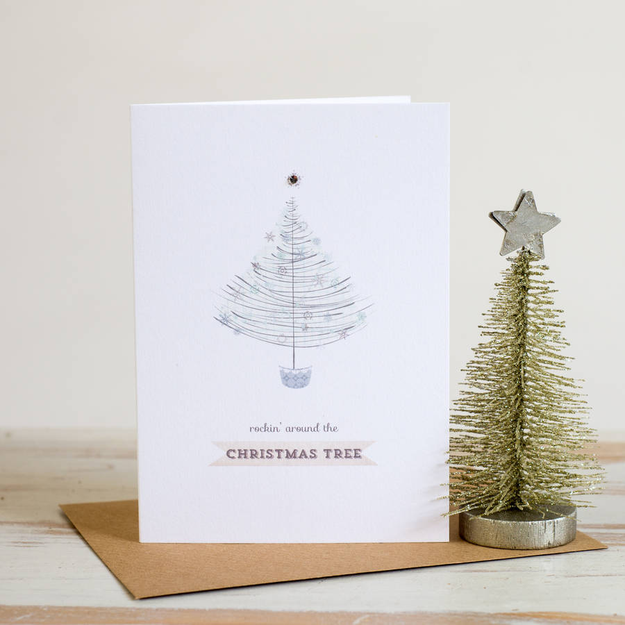 Luxurious Christmas Trees: Box Of 10 Luxury Swarovski Christmas Tree Cards By Studio