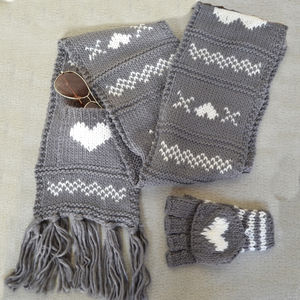 Chunky Wool Knit Scarf With Heart Detail - scarves