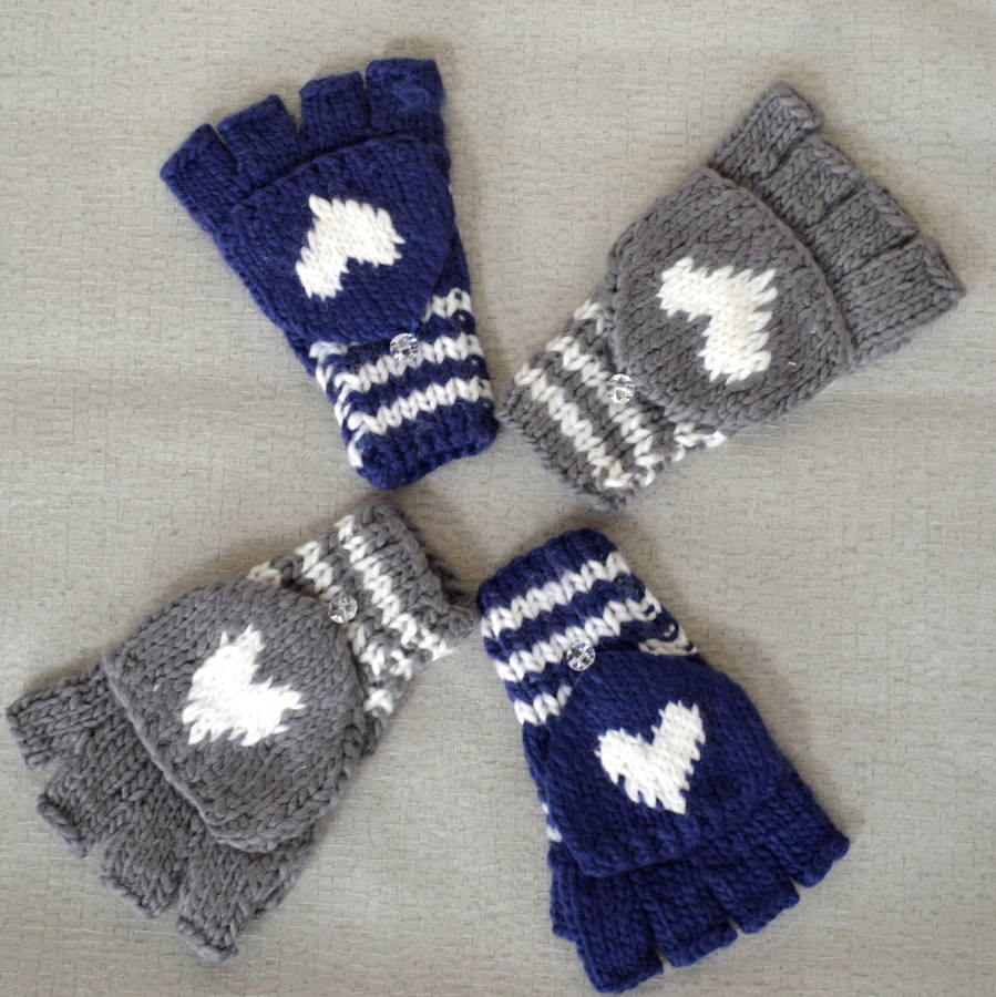 Knitting Pattern For Chunky Wool Mittens : chunky wool knit mittens with heart detail by solesmith ...