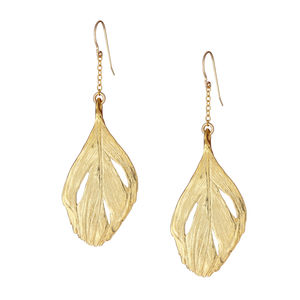 18k Gold Plated Feather Earrings - earrings