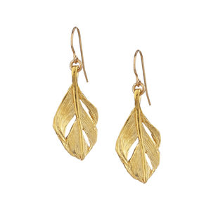 18k Gold Plated Midi Swan Feather Earrings - earrings