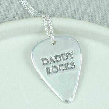 Personalised Mens Silver Plectrum Necklace