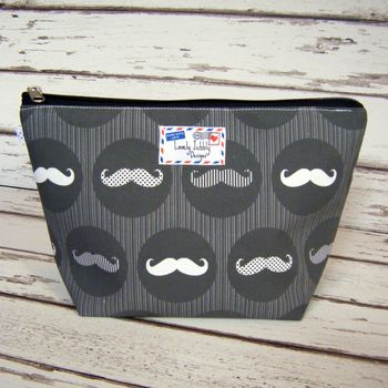 Moustache Monochrome Stripe Men's Toiletry Wash Bag