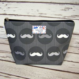Moustache Monochrome Stripe Men's Toiletry Wash Bag - make-up & wash bags